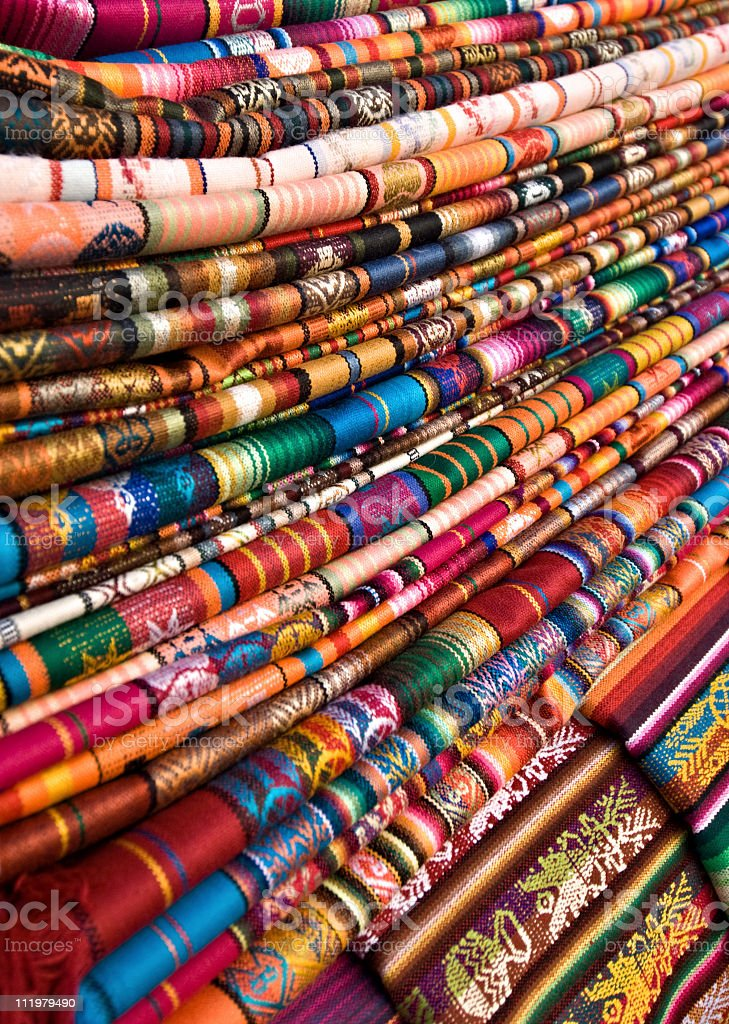 Blankets with Latin American Color Pattern royalty-free stock photo