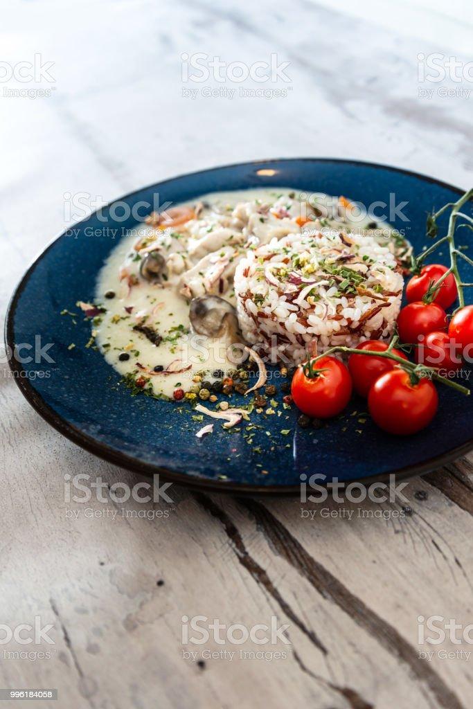 blanquette de veau aux cèpes et riz - Photo