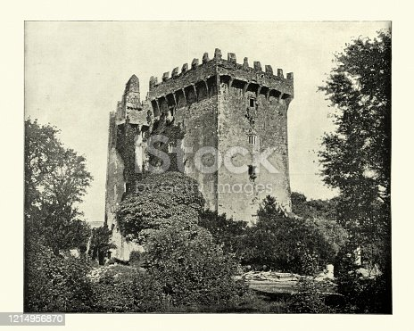 Antique photograph of Blarney Castle a medieval stronghold in Blarney, near Cork, Ireland. The current keep was built by the MacCarthy of Muskerry dynasty, a cadet branch of the Kings of Desmond, and dates from 1446. 19th Century