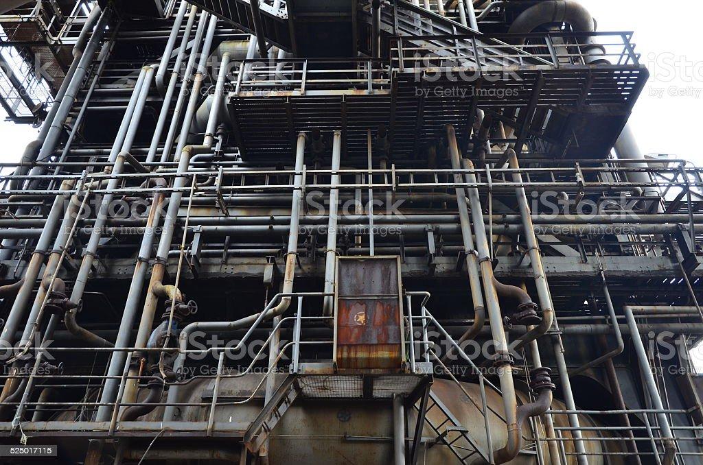 blast furnace in old steel-plant stock photo