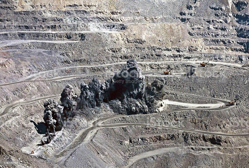 blast in open cast mine stock photo