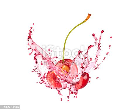 istock Blast of cherry with juice on white background 696590846