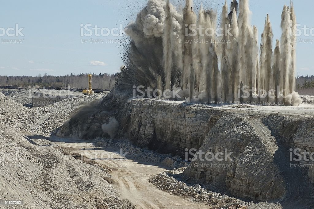 A blast that went off in an open pit  royalty-free stock photo