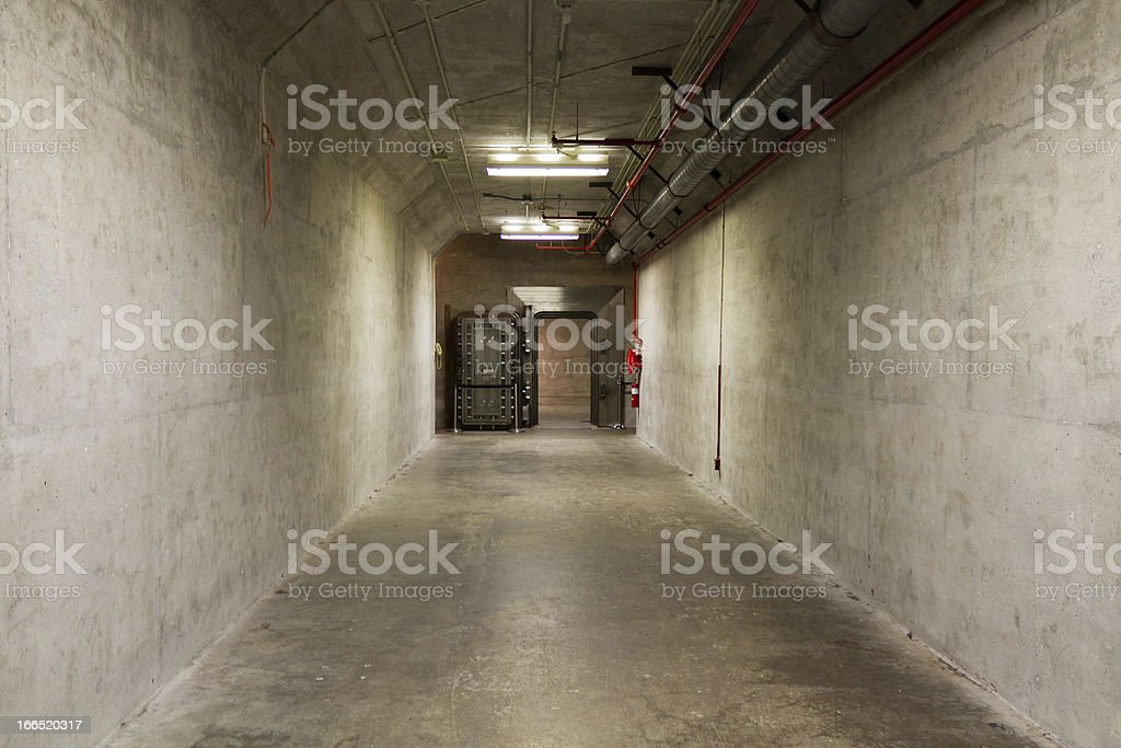 Blast tunnel in a bomb shelter stock photo