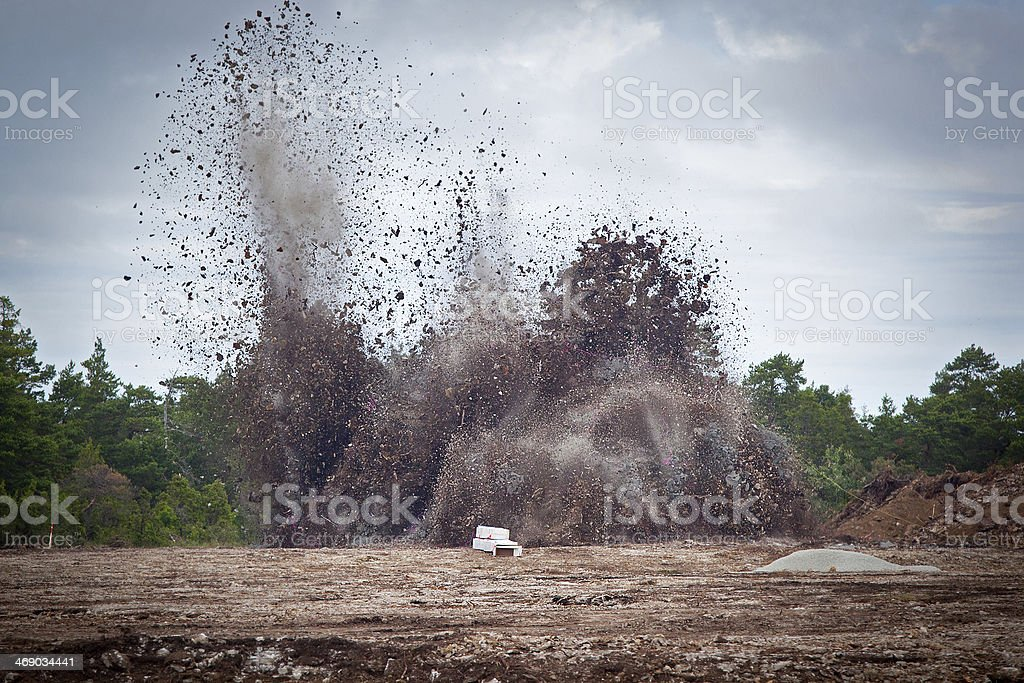 Blasting limestone earth explosion royalty-free stock photo