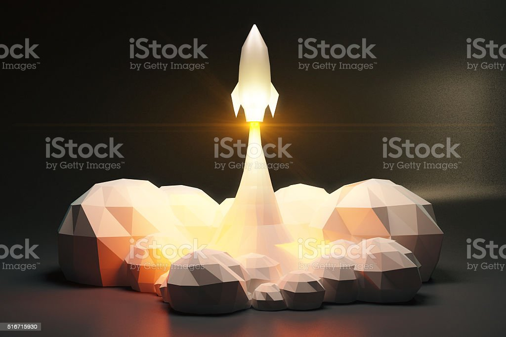 Blasts off space rocket from cosmodrom, polygonal style stock photo