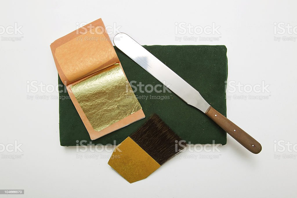 Blattgold Werkzeug stock photo