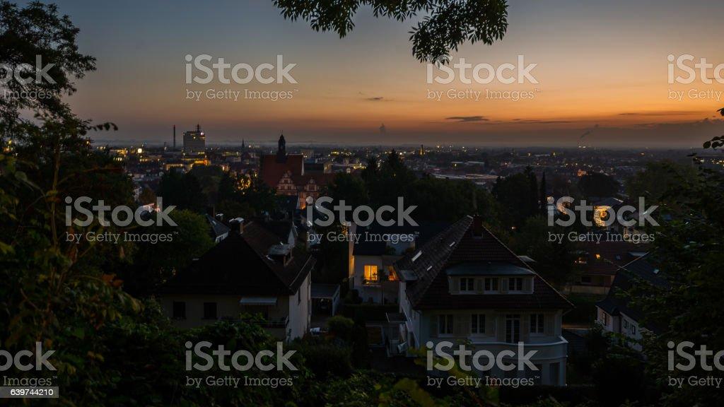 Blaue Stunde über Bielefeld stock photo