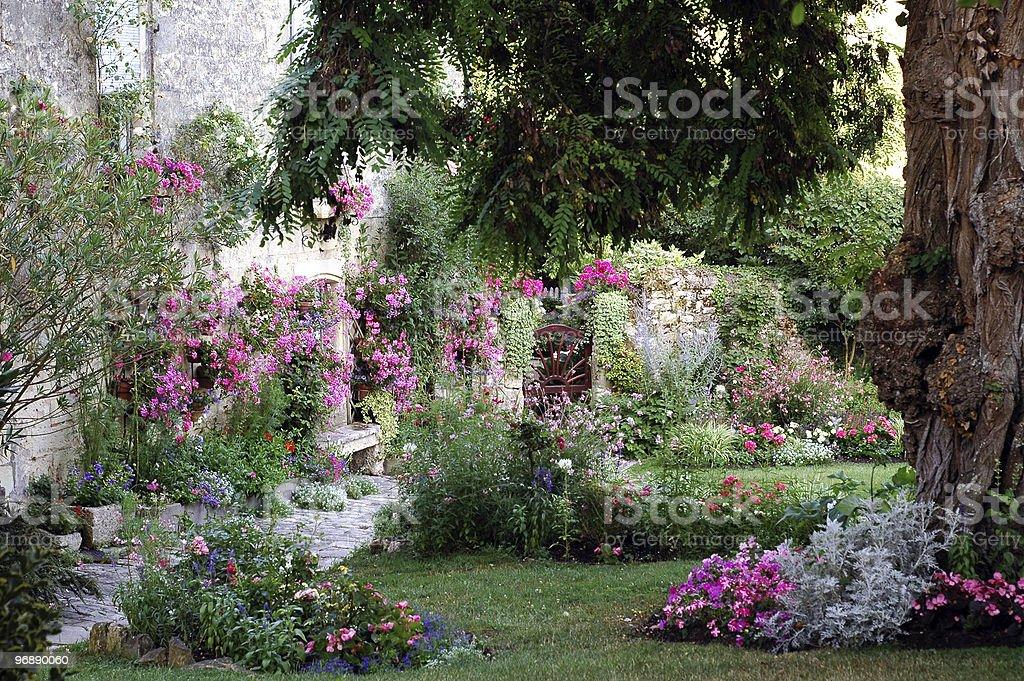 Blaye (Aquitaine, France), flowered garden at summer stock photo