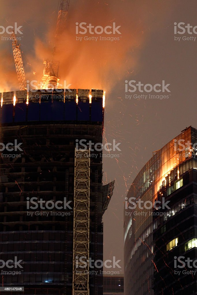 Blaze At Moscow City Skyscraper stock photo