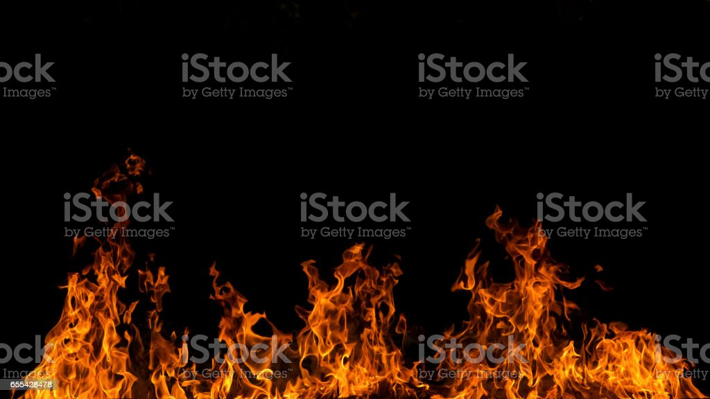 Blaze fire flame on black background stock photo