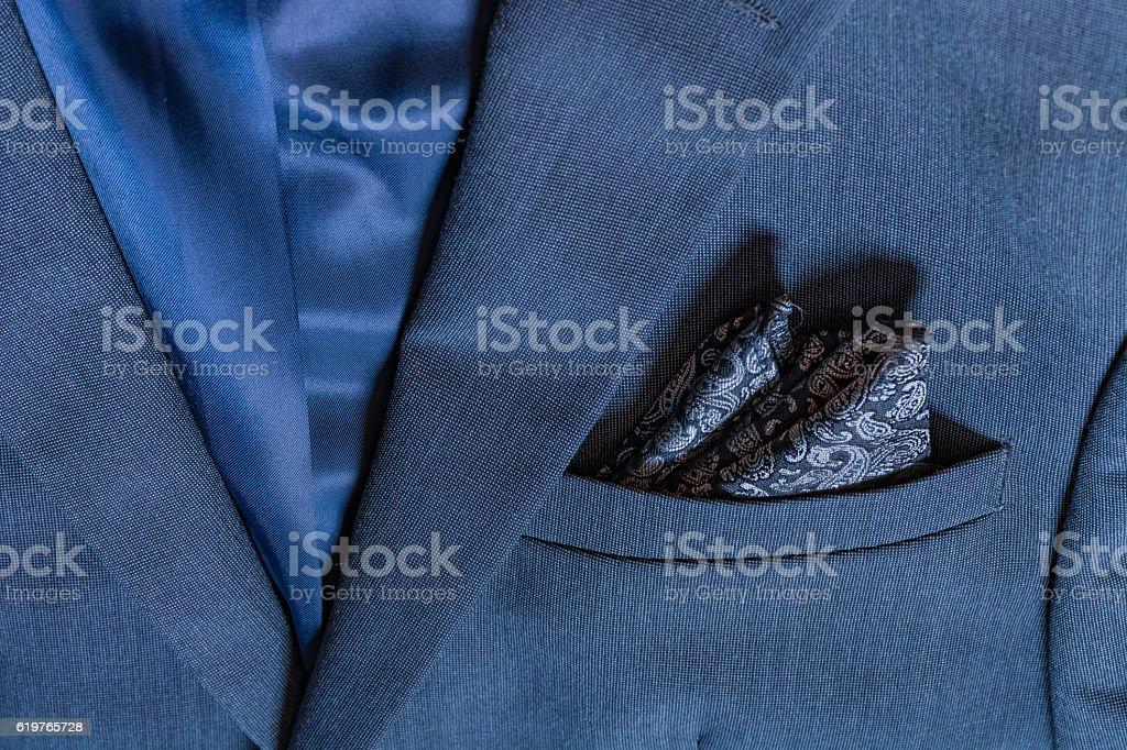 Blazer Closeup Texture Detail Textile Blue Tuxedo Suit Professional Handsome stock photo