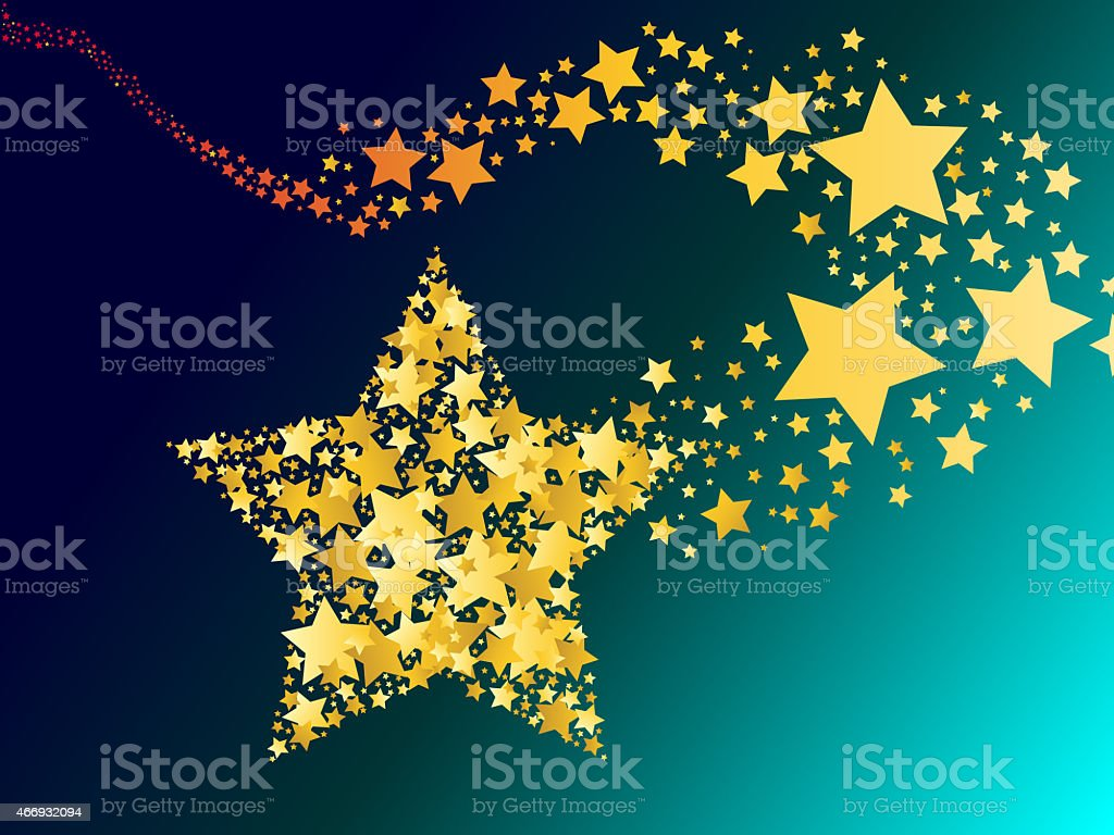blazing abstract comet shooting gold star illustration stock photo