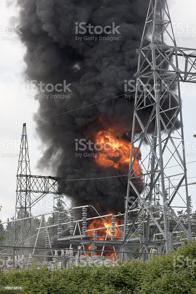 Blazing fire at electrical substation stock photo