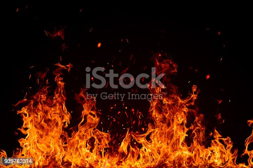 Blazing fire border isolated on black