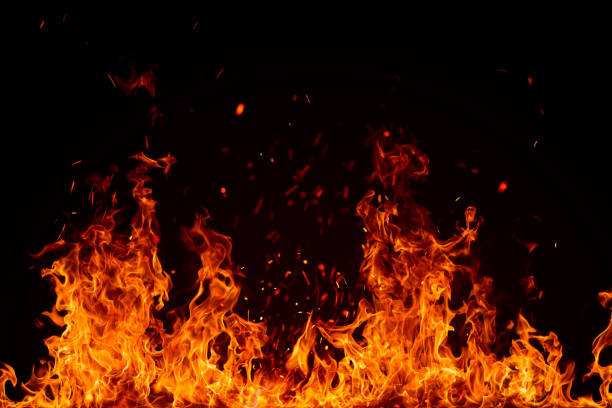 blazing fire border isolated on black - flame stock pictures, royalty-free photos & images