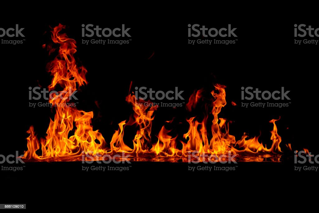 Blazing fire on the glossy surface stock photo