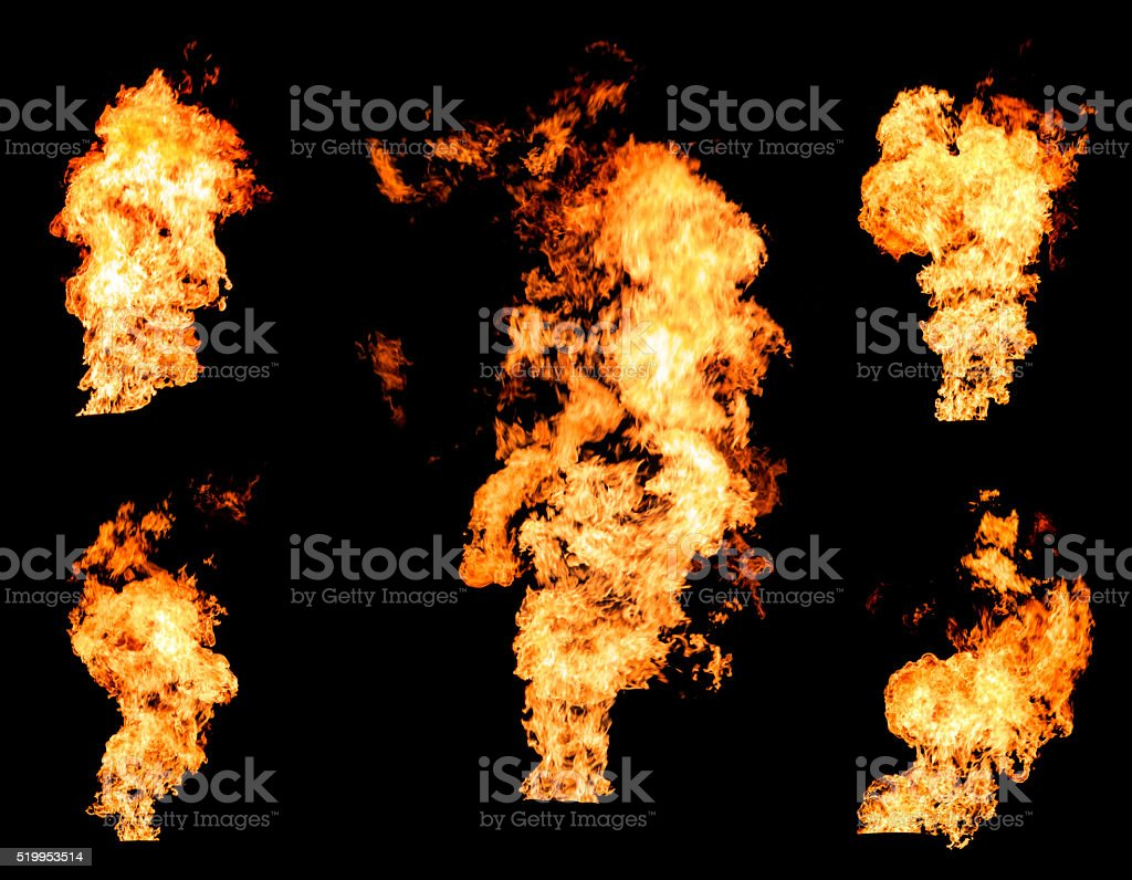 Blazing fire raging flame of burning gas or oil collection stock photo