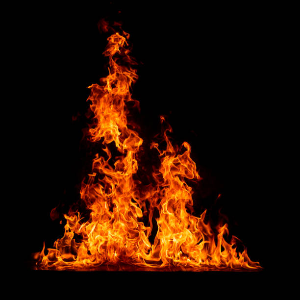 blazing fire with reflection isolated on black background - flame stock pictures, royalty-free photos & images