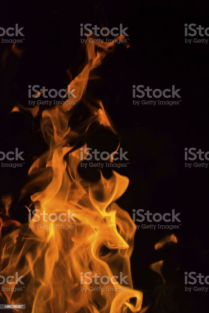 Blazing flames fast shutter speed background stock photo