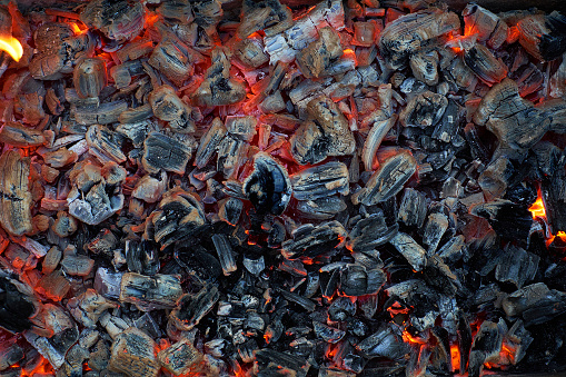 Blazing red coals. Beautiful background