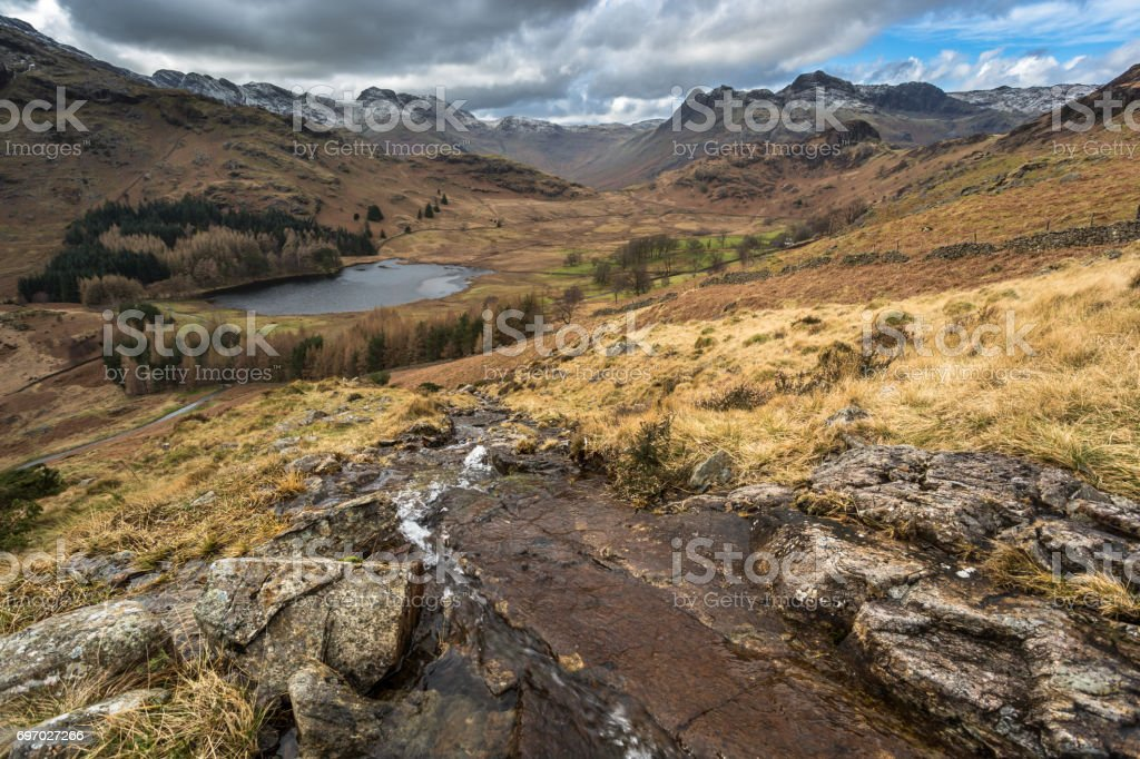 Blea Tarn and Langdale Valley stock photo