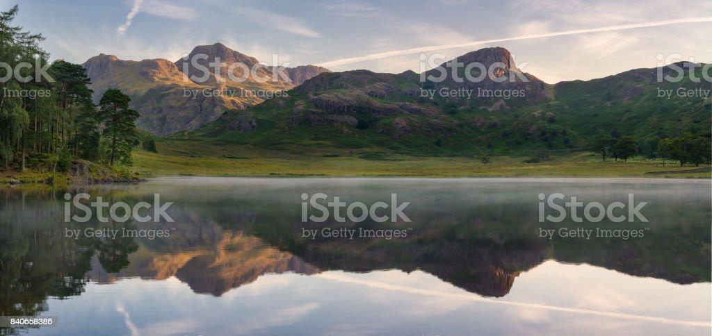 Blea Tarn Morning Panorama. stock photo