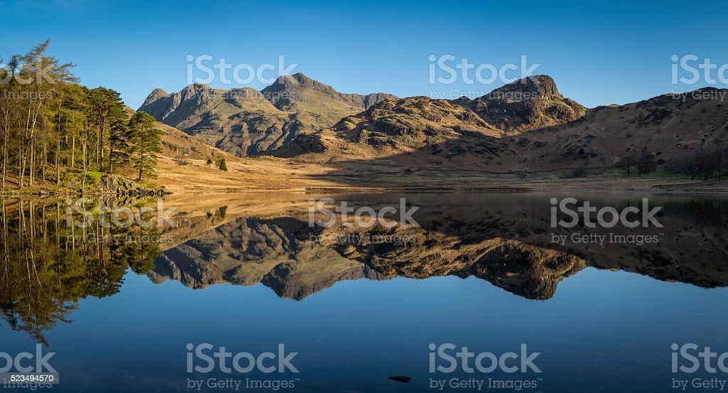 Blea Tarn Panorama With Clear Reflections. stock photo