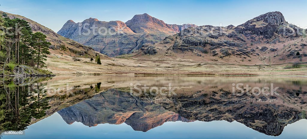 Blea Tarn Panorama With Perfect Reflections. stock photo