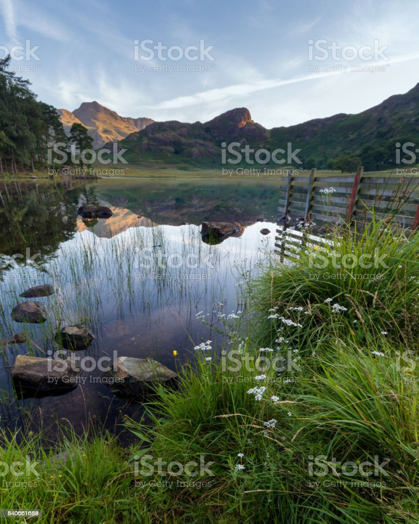Blea Tarn Reflections. stock photo