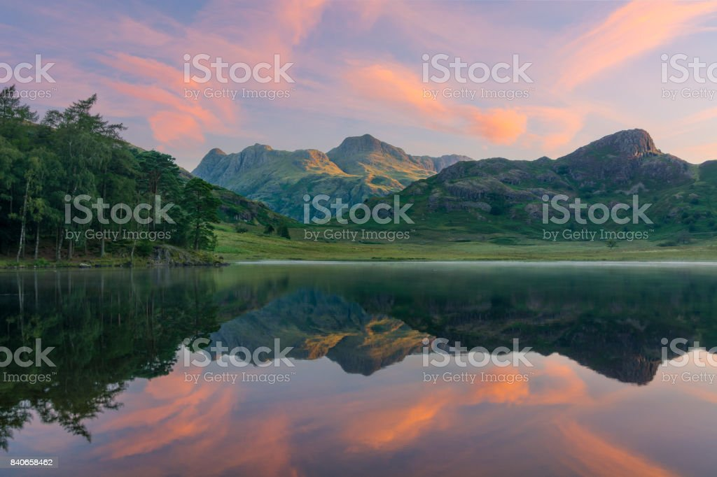 Blea Tarn Sunrise In The Lake District. stock photo