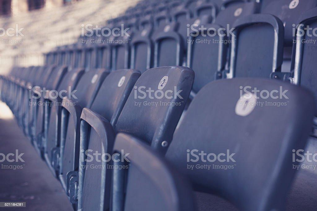 Bleachers in stadium stock photo