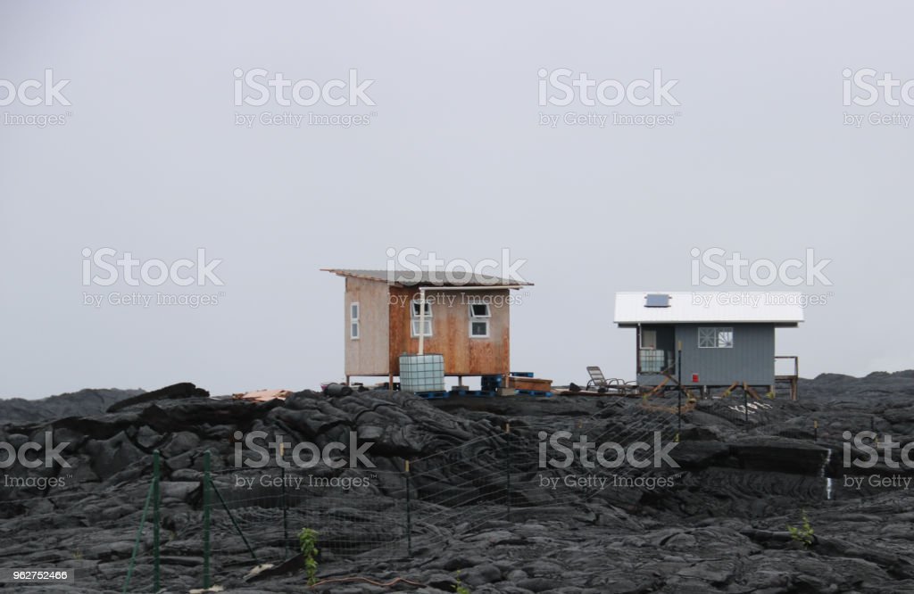 bleak living on lava fields - Foto stock royalty-free di Ambientazione esterna
