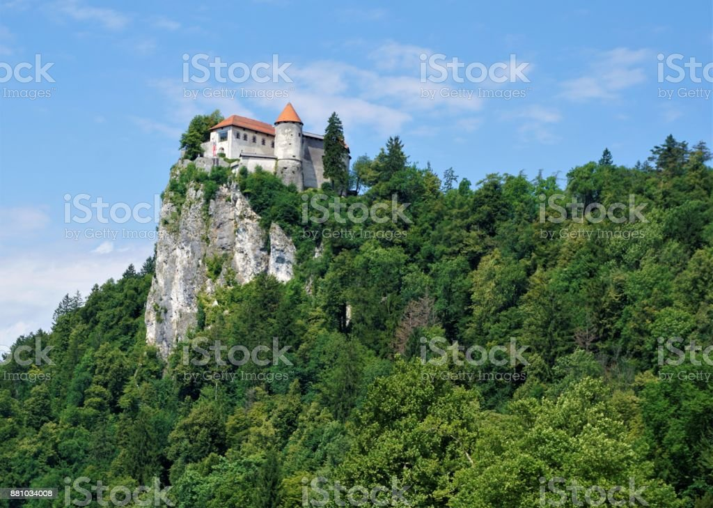 Bled castle enthroned on a rock stock photo
