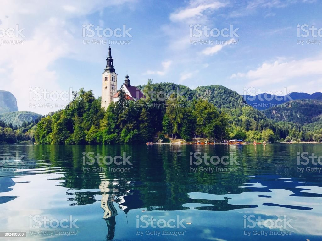 Bled Castle on Bled Lake stock photo