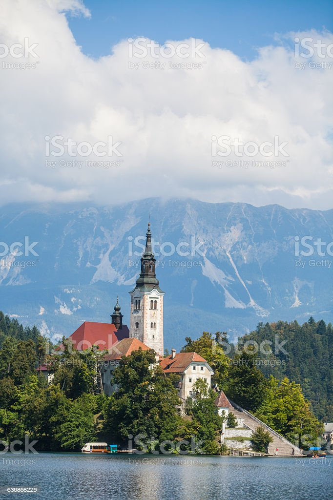 Bled church in Slovenia stock photo