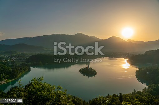 Bled glacier lake landscape in Slovenia at idillyc sunrise, in the Julian Alps