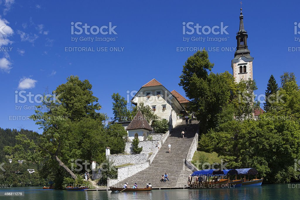 Bled island with its steep staircase. stock photo
