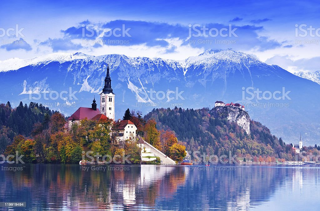 Bled lake, island stock photo