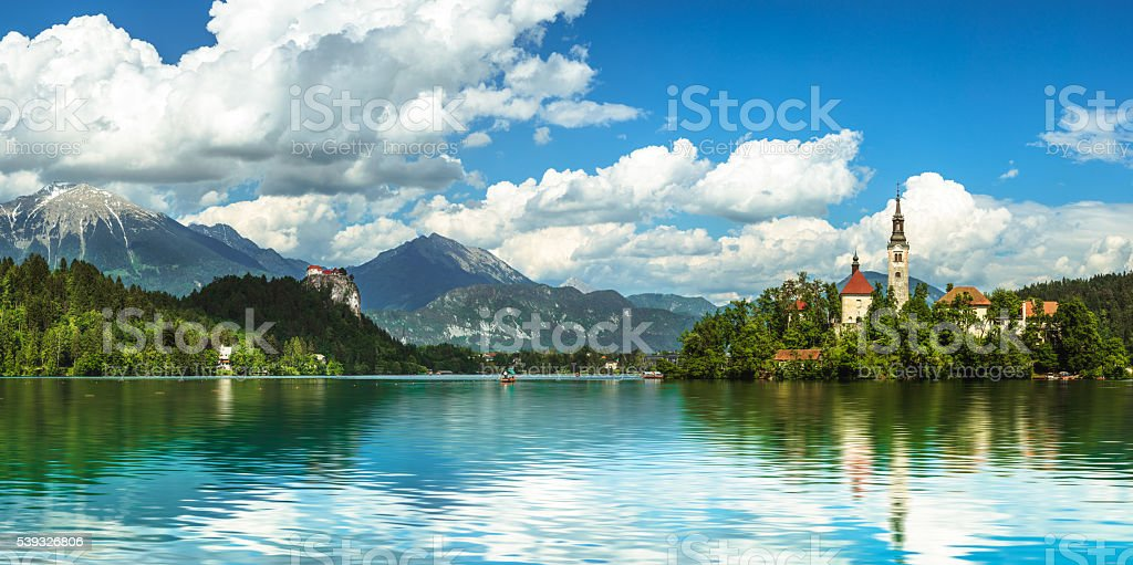 Bled Lake panorama stock photo