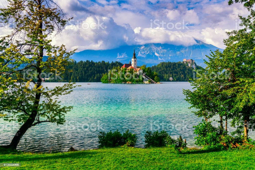 Bled lake summer stock photo