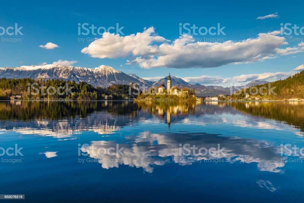 Bled Lake,Island,Church,Mountain-Slovenia stock photo