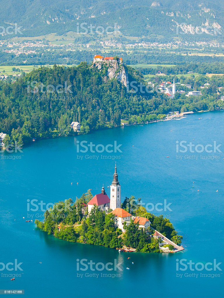 Bled - mountain lake with island church and castle stock photo