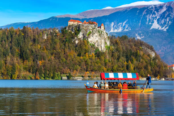 Bled, Slovenia view with castle and boat stock photo