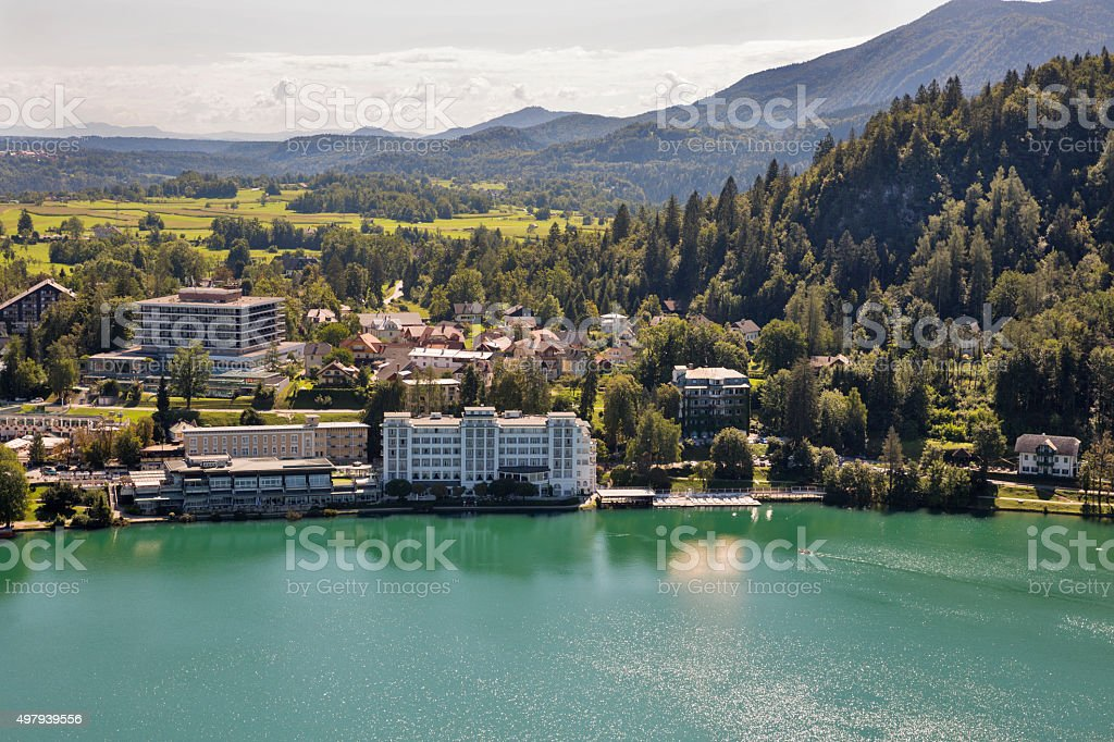 Bled town cityscape with lake stock photo