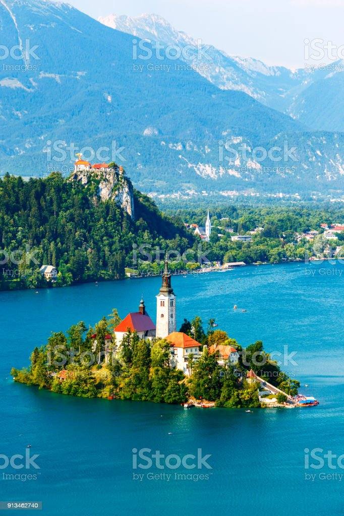 Bled with lake in summer, Slovenia stock photo