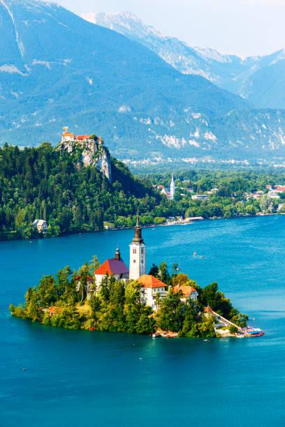 bled with lake in summer, slovenia - slovenia foto e immagini stock