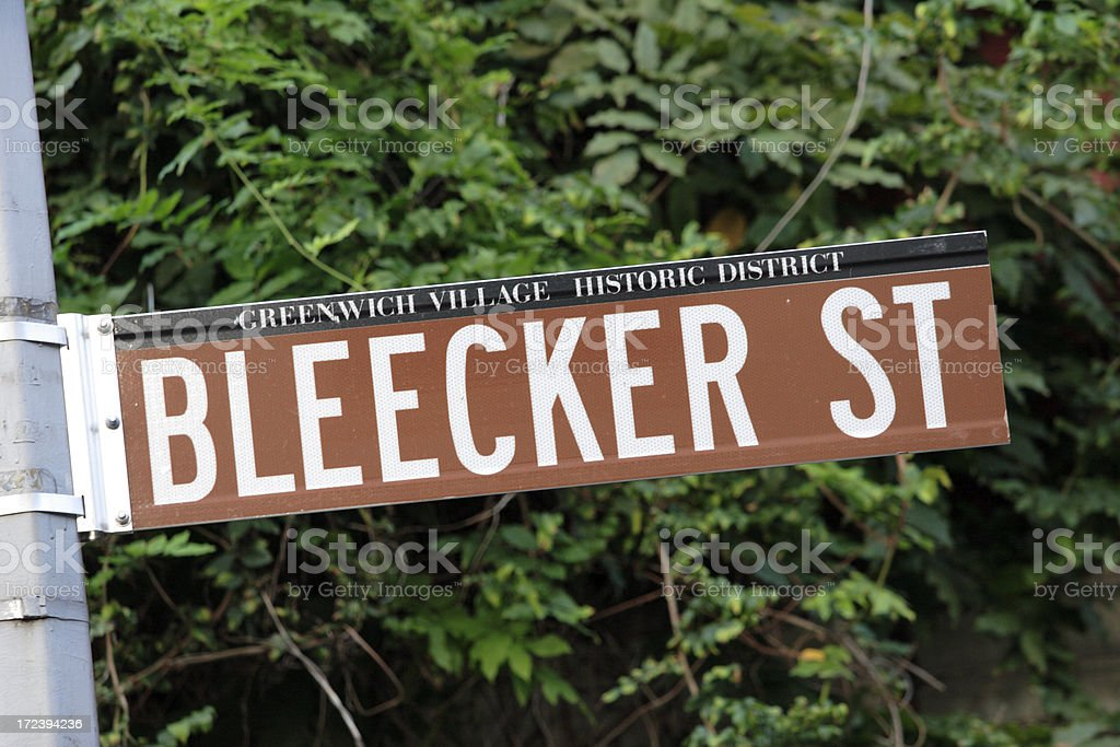 Bleecker Street Sign. stock photo