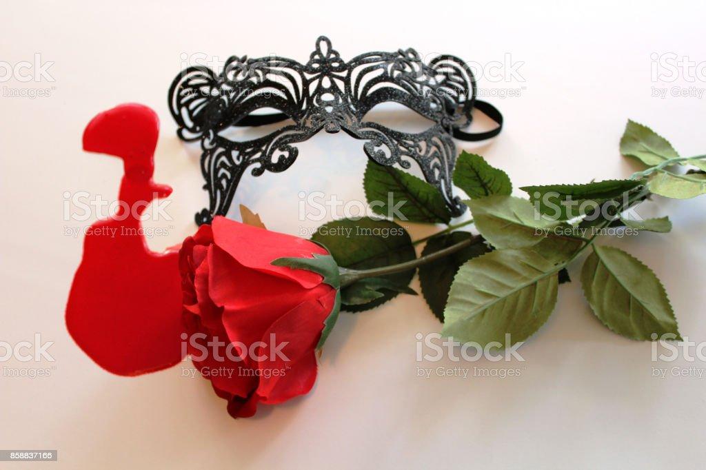 Bleeding Rose Black Costume Mask stock photo