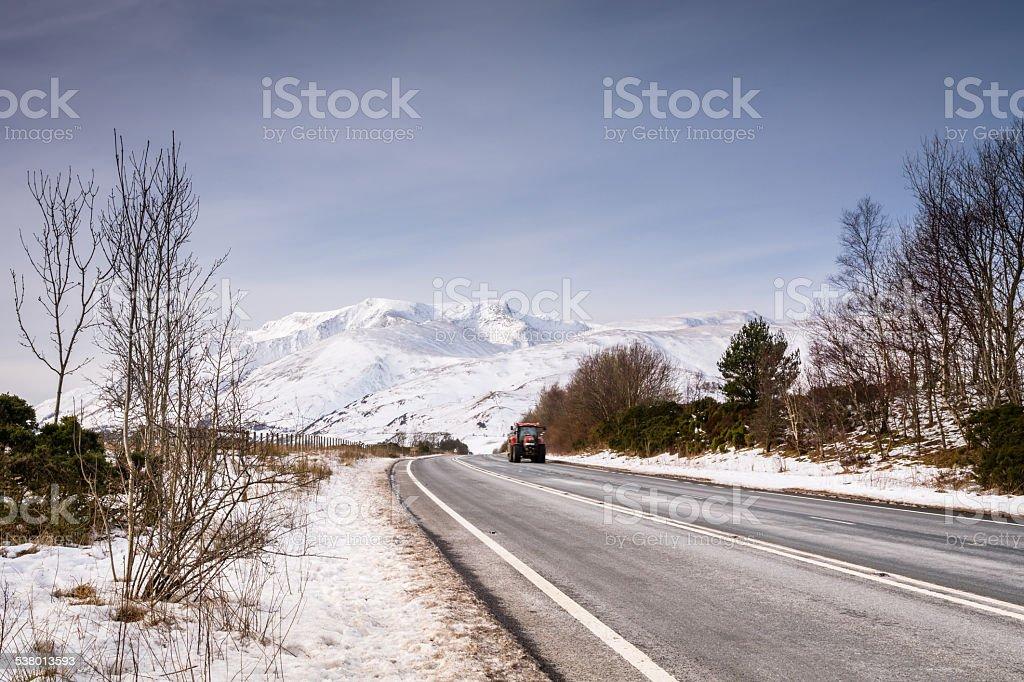 Blencathra Mountain covered in snow stock photo
